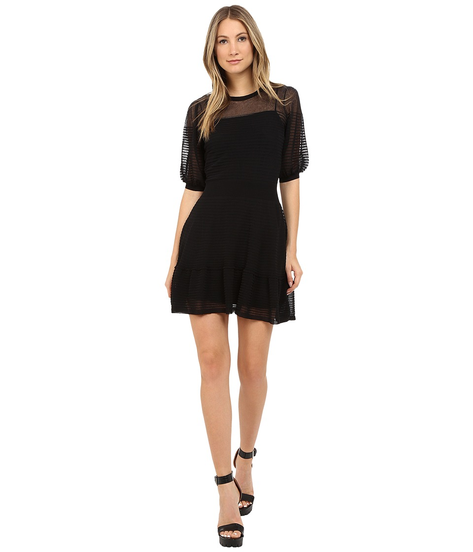 RED VALENTINO - Cotton Yarn Organza Dress (Black) Women's Dress