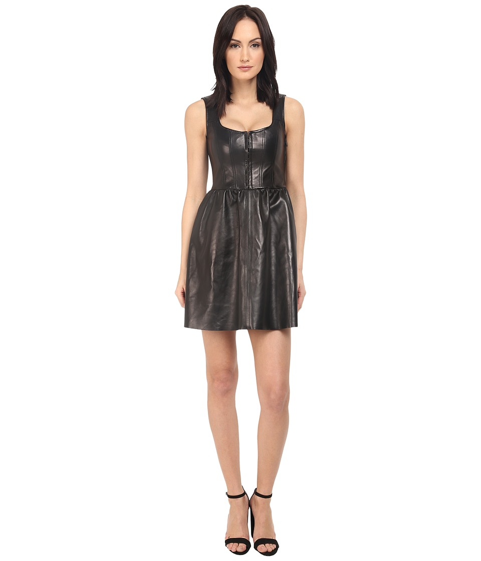 RED VALENTINO - Corset Leather Dress (Black) Women's Dress