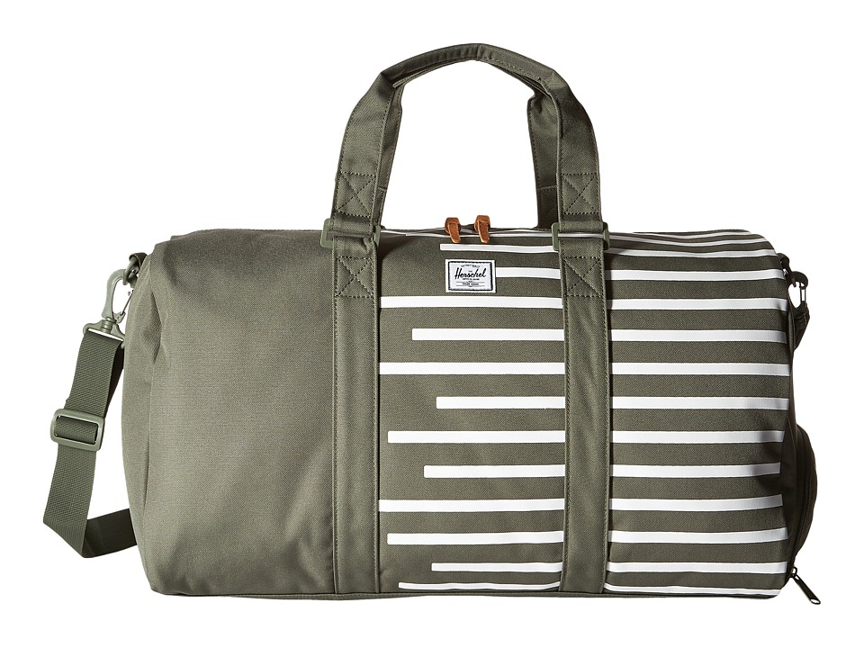 Herschel Supply Co. - Novel (Deep Lichen Green/Blanc de Blanc Stripes) Duffel Bags
