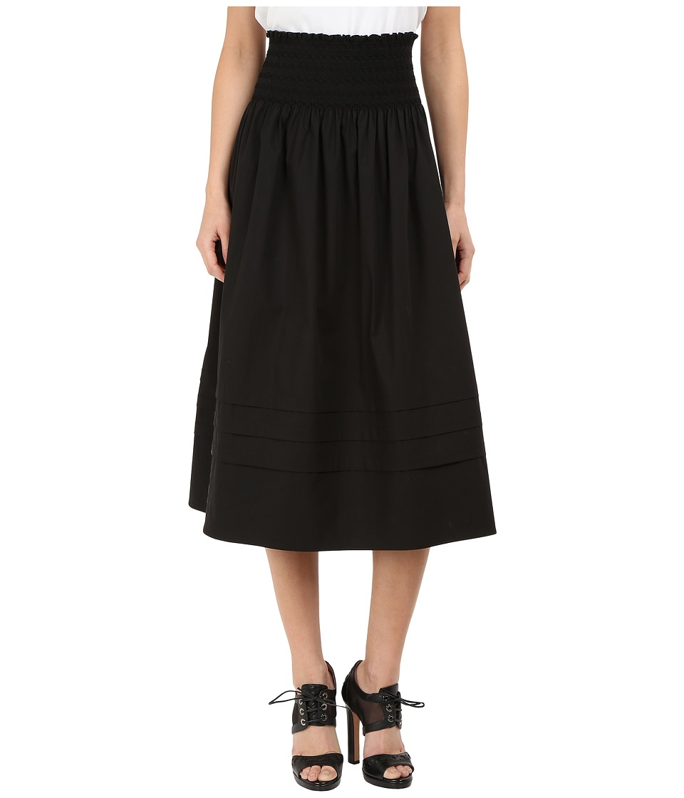 RED VALENTINO - Stretch Compact Poplin Skirt (Black) Women's Skirt