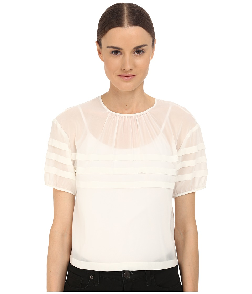RED VALENTINO - Crop Blouse with Stripe Detail (White) Women's Blouse