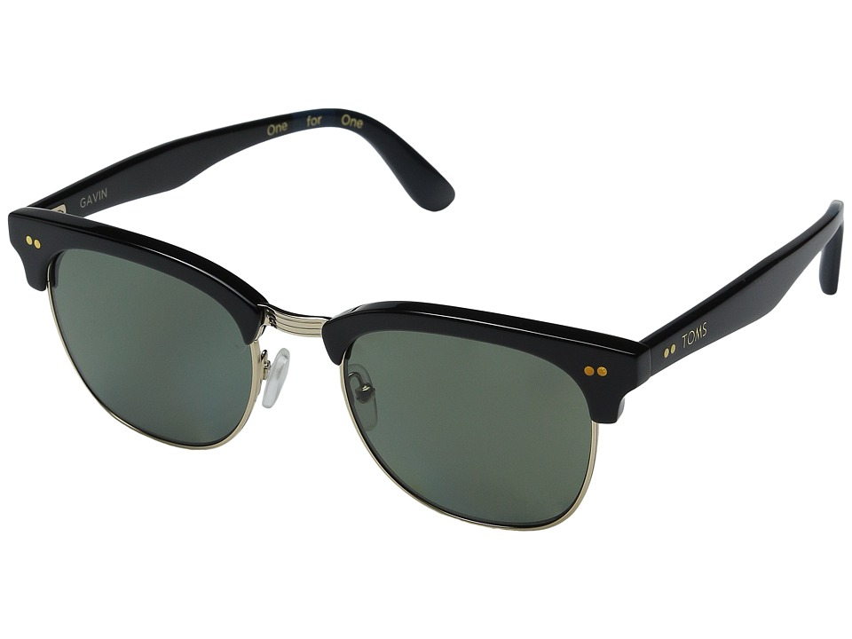 TOMS - Gavin Polarized (Shiny Black) Polarized Fashion Sunglasses