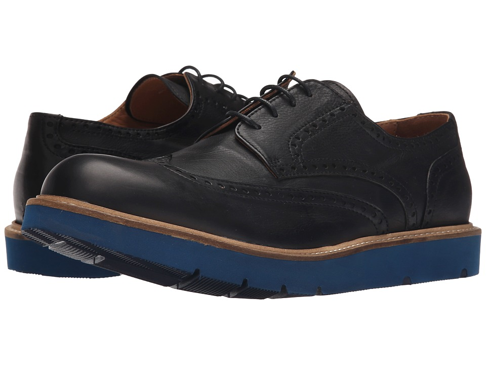 Massimo Matteo - Wing Tip Blue Sole (Black) Men's Lace Up Wing Tip Shoes