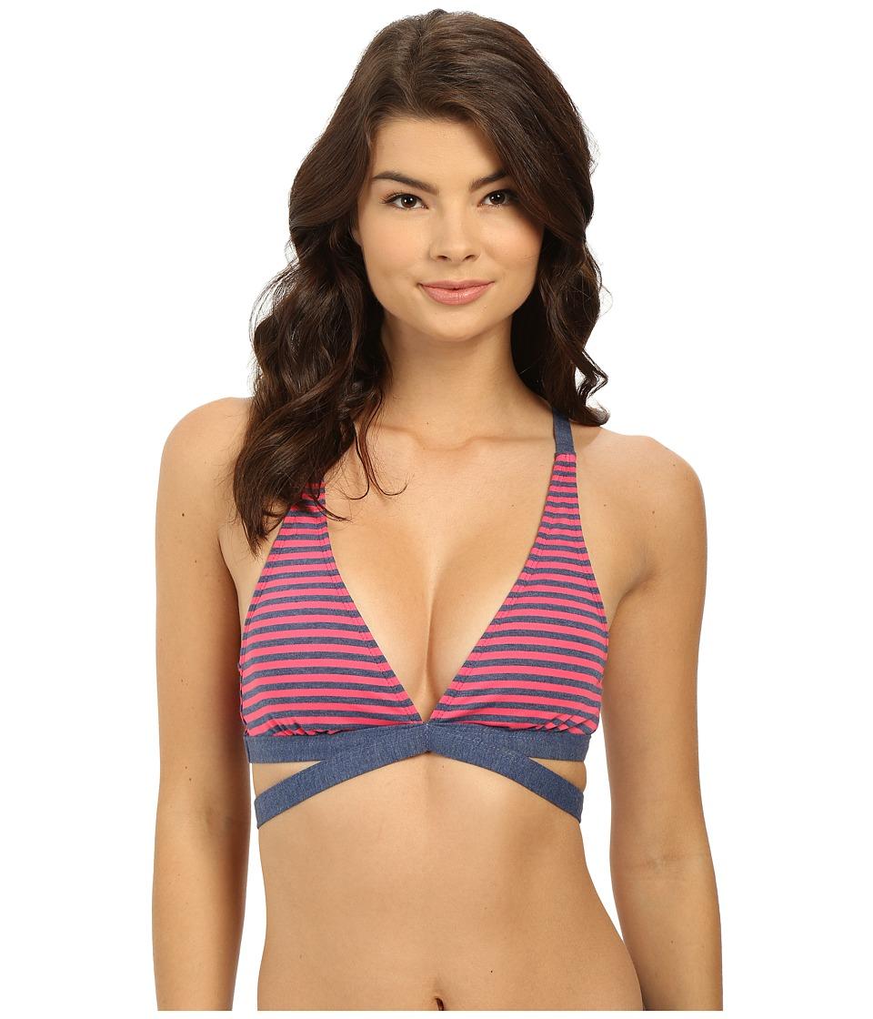 Splendid Malibu Stripe Rem Soft Cup Halter Bra Pink Swimwear