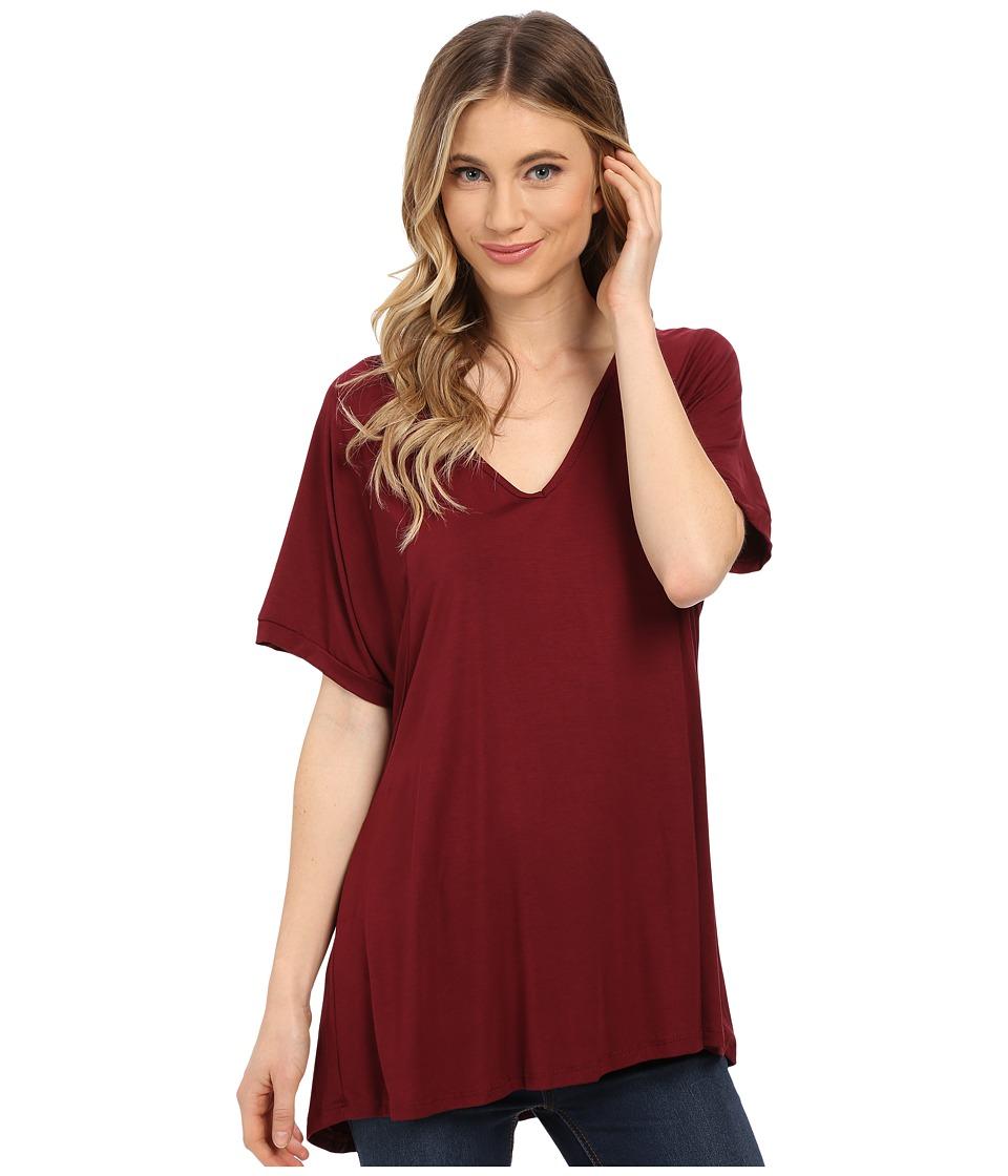 Culture Phit - Viola Modal Short Sleeve Top (Wine) Women's T Shirt