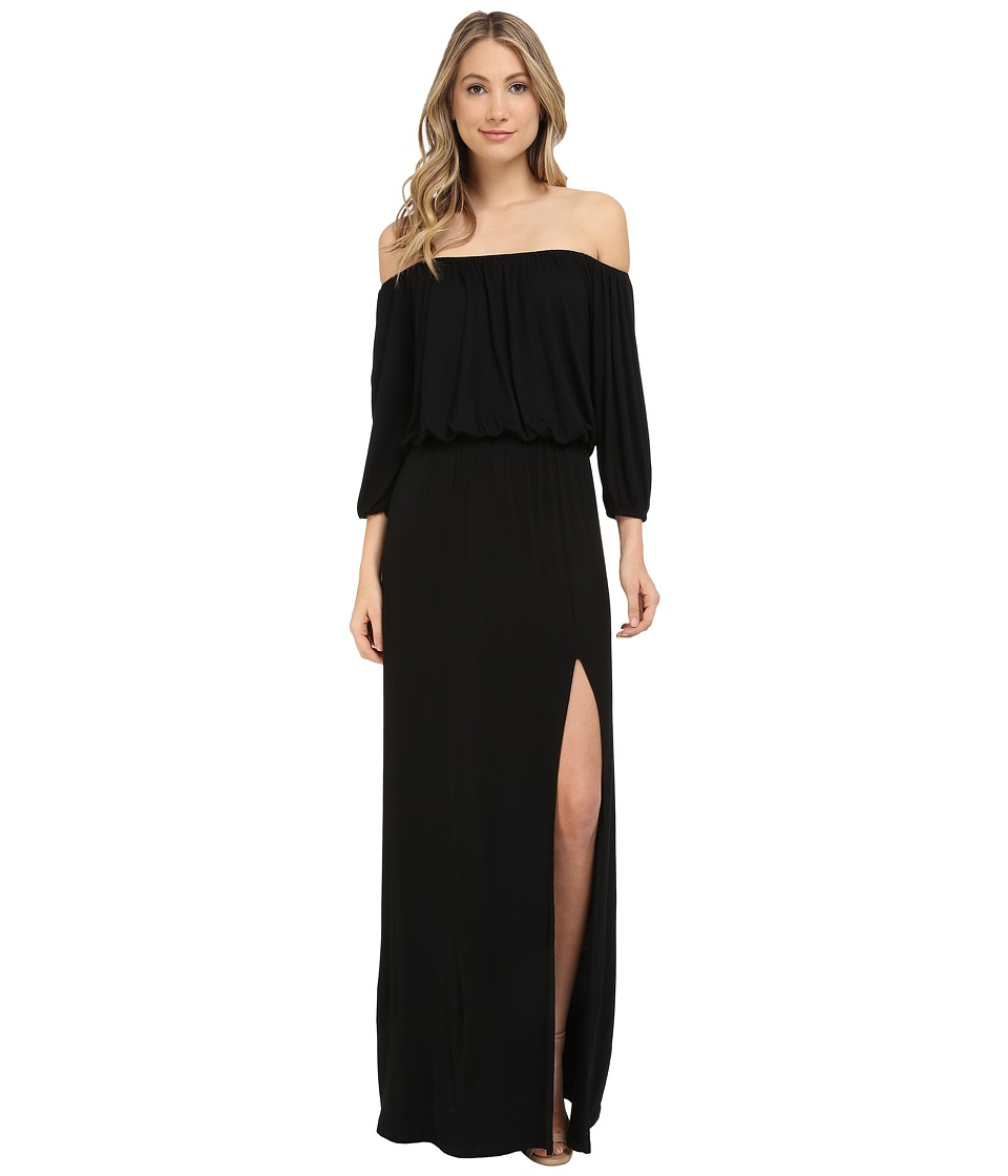 Culture Phit - Lily Off-the-Shoulder Maxi Dress with Slit (Black) Women's Dress