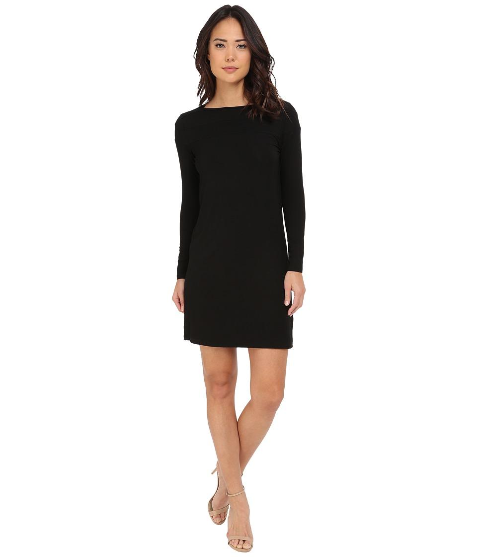 Christin Michaels Avery Boat Neck Long Sleeve Dress (Black) Women