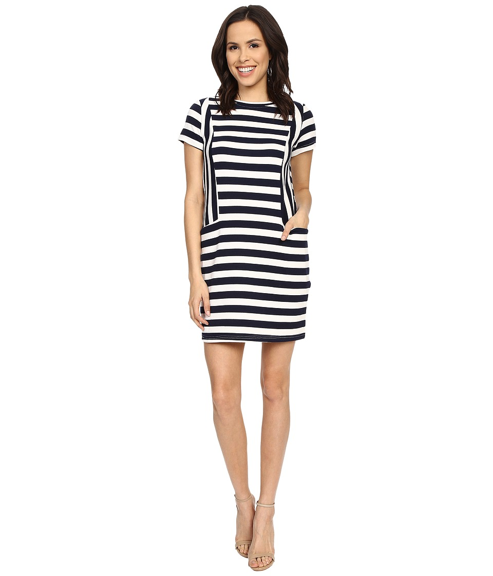 Brigitte Bailey - Miranda Striped Short Sleeve Dress (Navy/White) Women's Dress