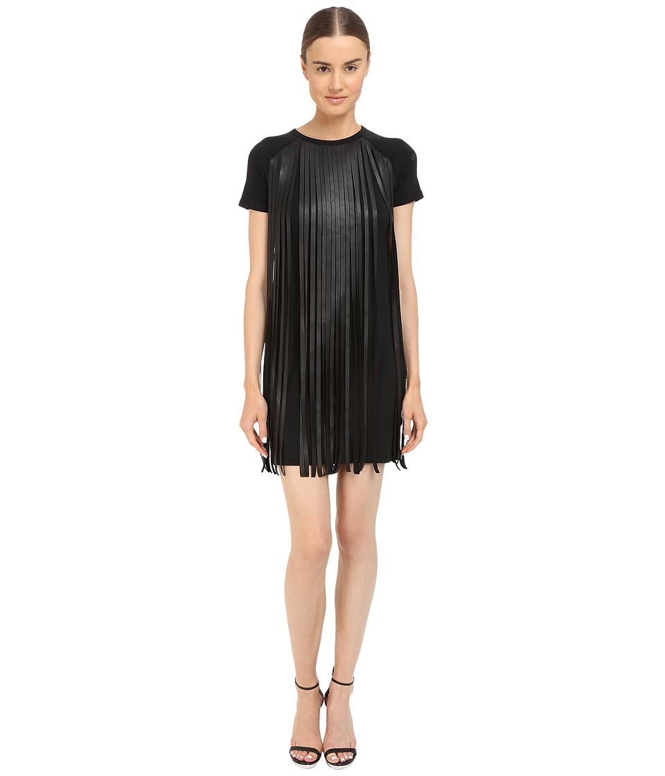 Neil Barrett - Fringed Leather Jersey T-Shirt Fringed Leather + Crepe Dress (Black) Women's Dress