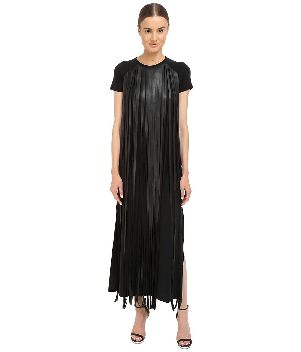 Neil Barrett Fringed Leather Jersey Long Fringed Eco Leather + Crepe Stretch Dress