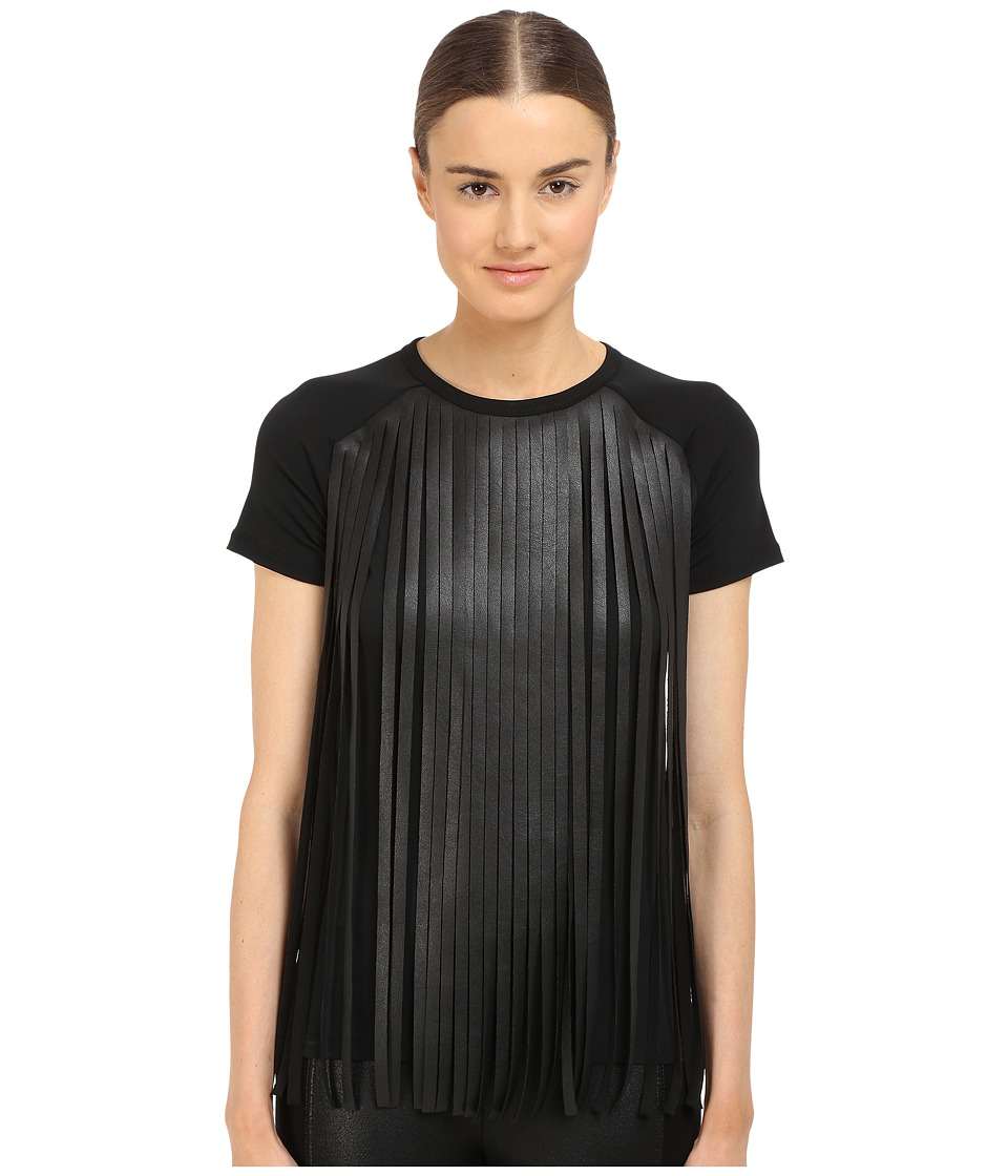 Neil Barrett - Fringed Leather Jersey Fringed Eco Leather + Crepe T-Shirt (Black) Women's T Shirt