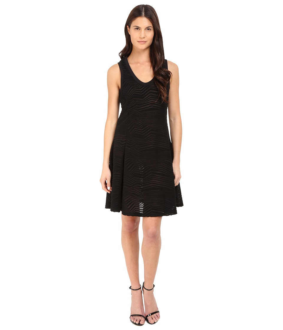 Neil Barrett - Fragmented Lines Flared Jersey Dress (Black) Women's Dress