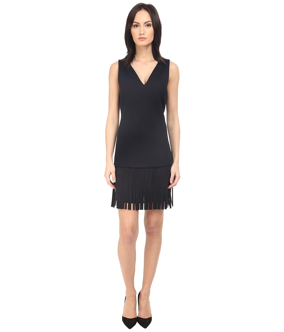 Neil Barrett - Deep V-Neck Fringed Fine Double Bonded Sweat Dress (Dark Navy) Women's Dress