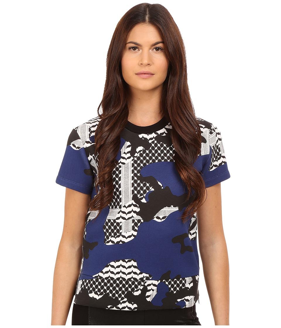Neil Barrett - Short Oversize Kefiah Camo Sweatshirt (Black/White/Imperial Blue) Women's Sweatshirt