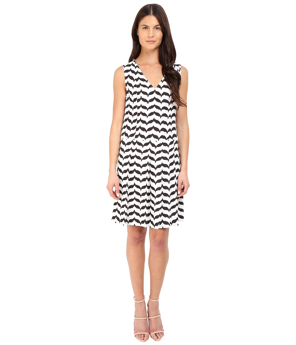 Neil Barrett - Degrade' Pleats V-Neck Macro Kefiah Cady Poly Dress (Off-White/Black) Women's Dress
