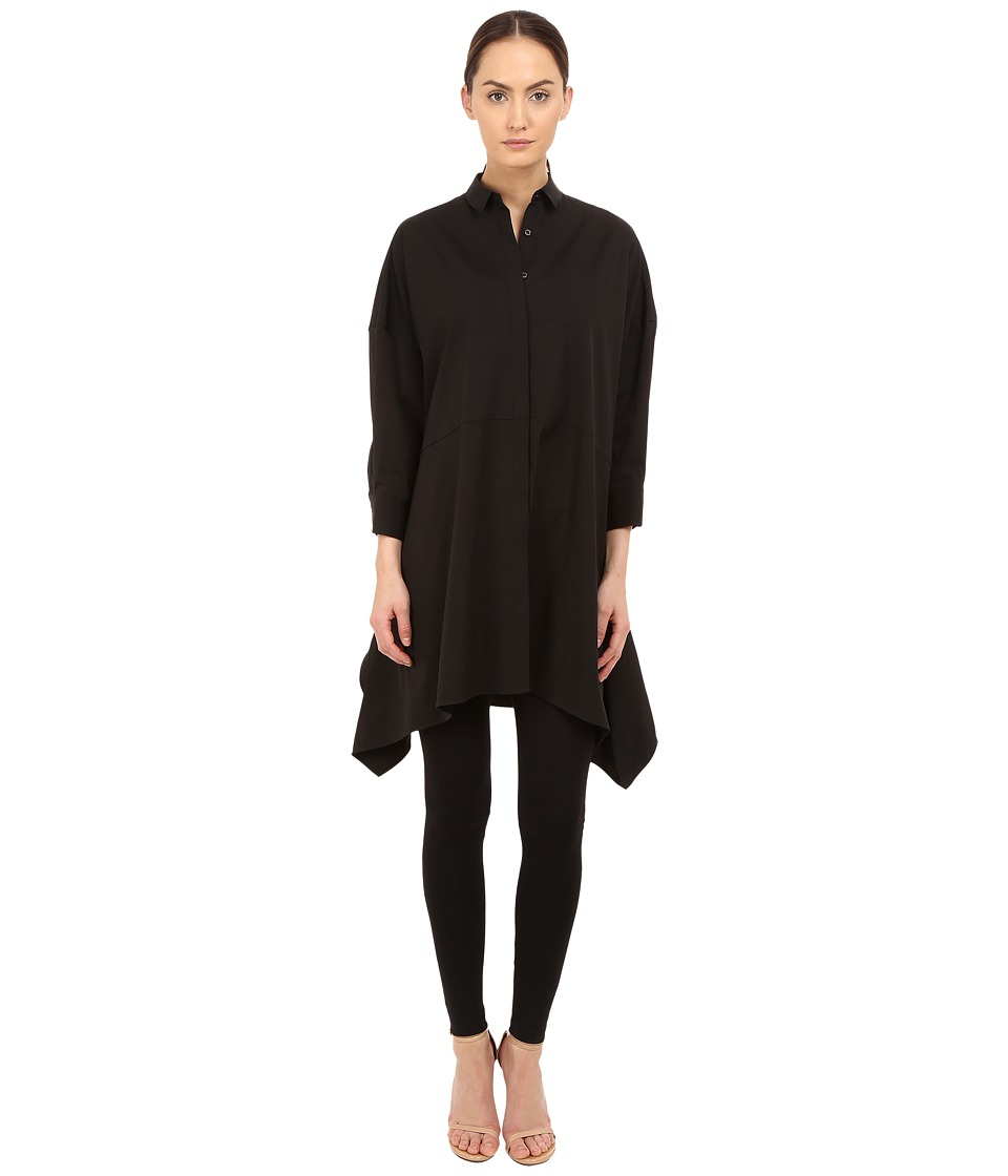 Neil Barrett - Drapped Wide Oversize Popeline Top (Black) Women's Clothing
