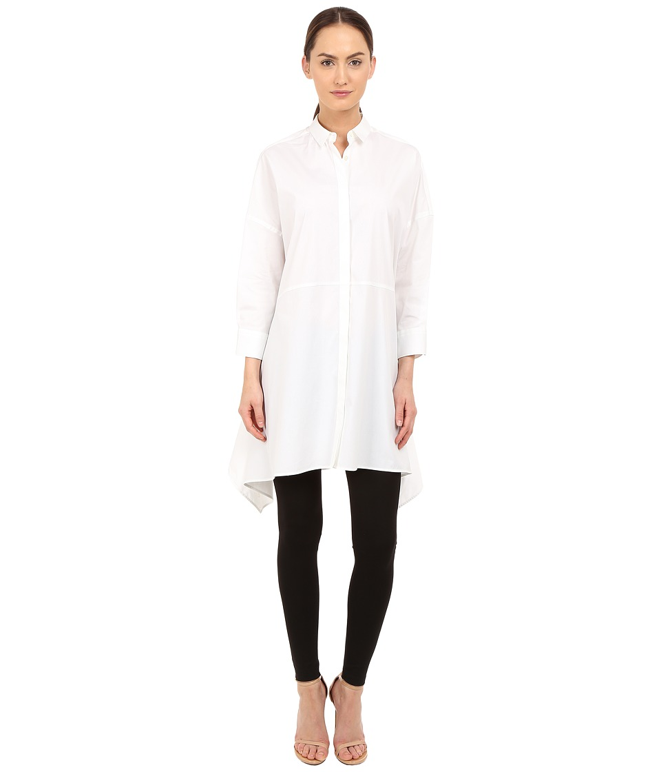 Neil Barrett - Drapped Wide Oversize Popeline Top (White) Women's Clothing