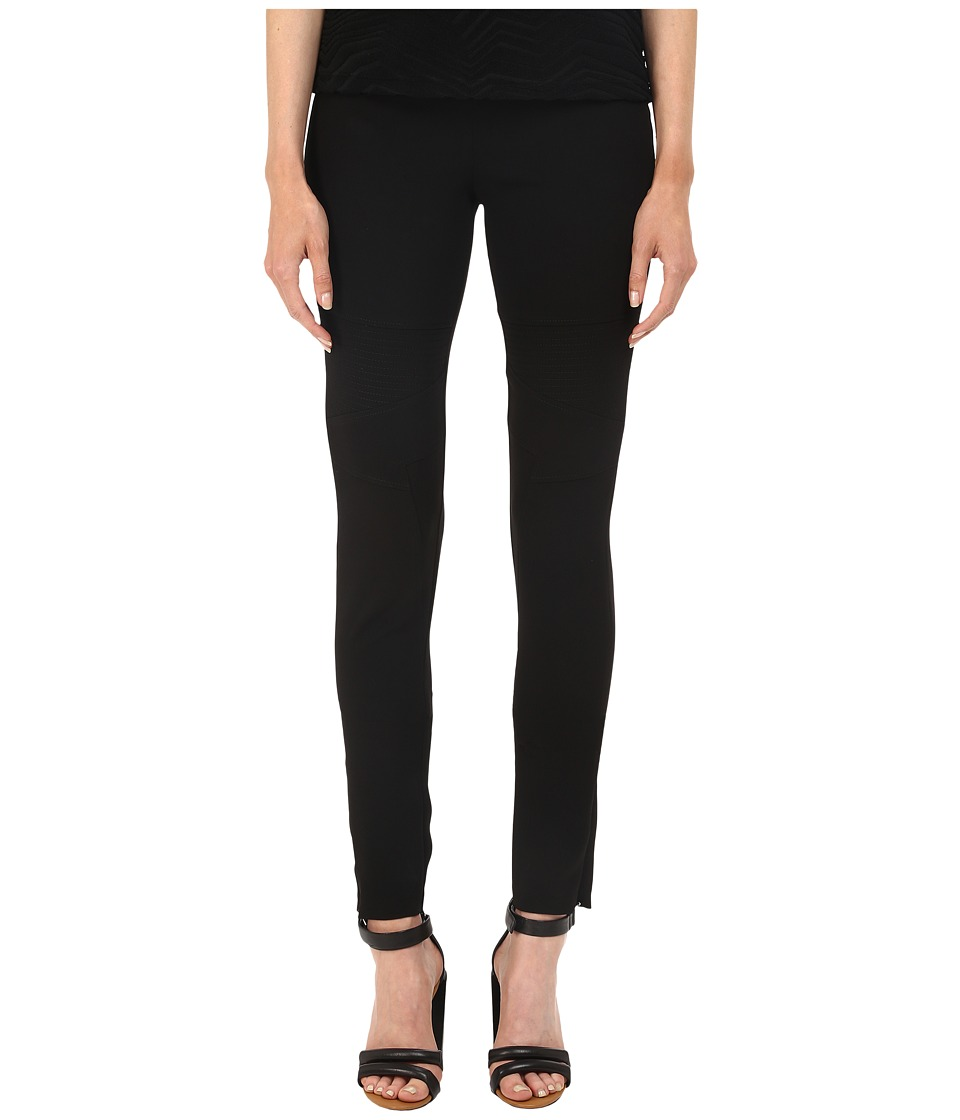Neil Barrett - Articulated Knee Legging Fit Light Crepe Stretch Trousers (Black) Women's Casual Pants