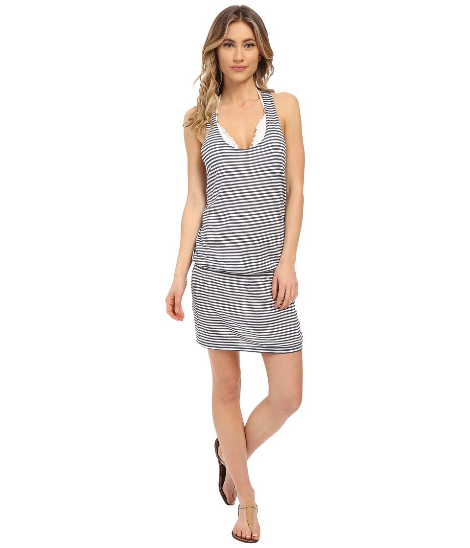 Splendid - Malibu Stripe Dress Cover-Up (Navy) Women's Swimwear