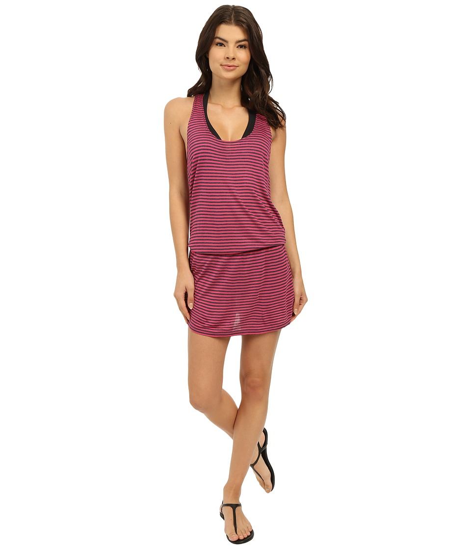 Splendid - Malibu Stripe Dress Cover-Up (Pink) Women's Swimwear