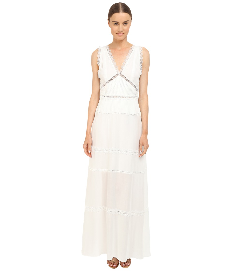 The Kooples - Long Dress in A Cotton Blend and Lace (White) Women's Dress