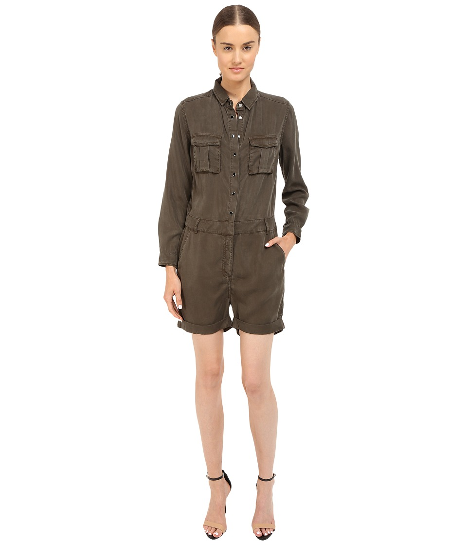The Kooples - Combinaison Short En Tencel Type Militaire (Kaki) Women's Jumpsuit & Rompers One Piece
