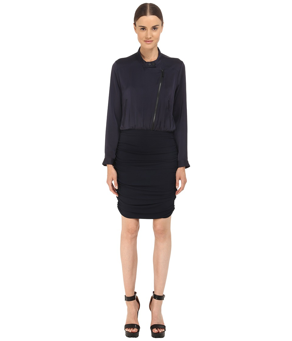 The Kooples - Bi-Material Dress with Perfecto Collar (Navy) Women's Dress