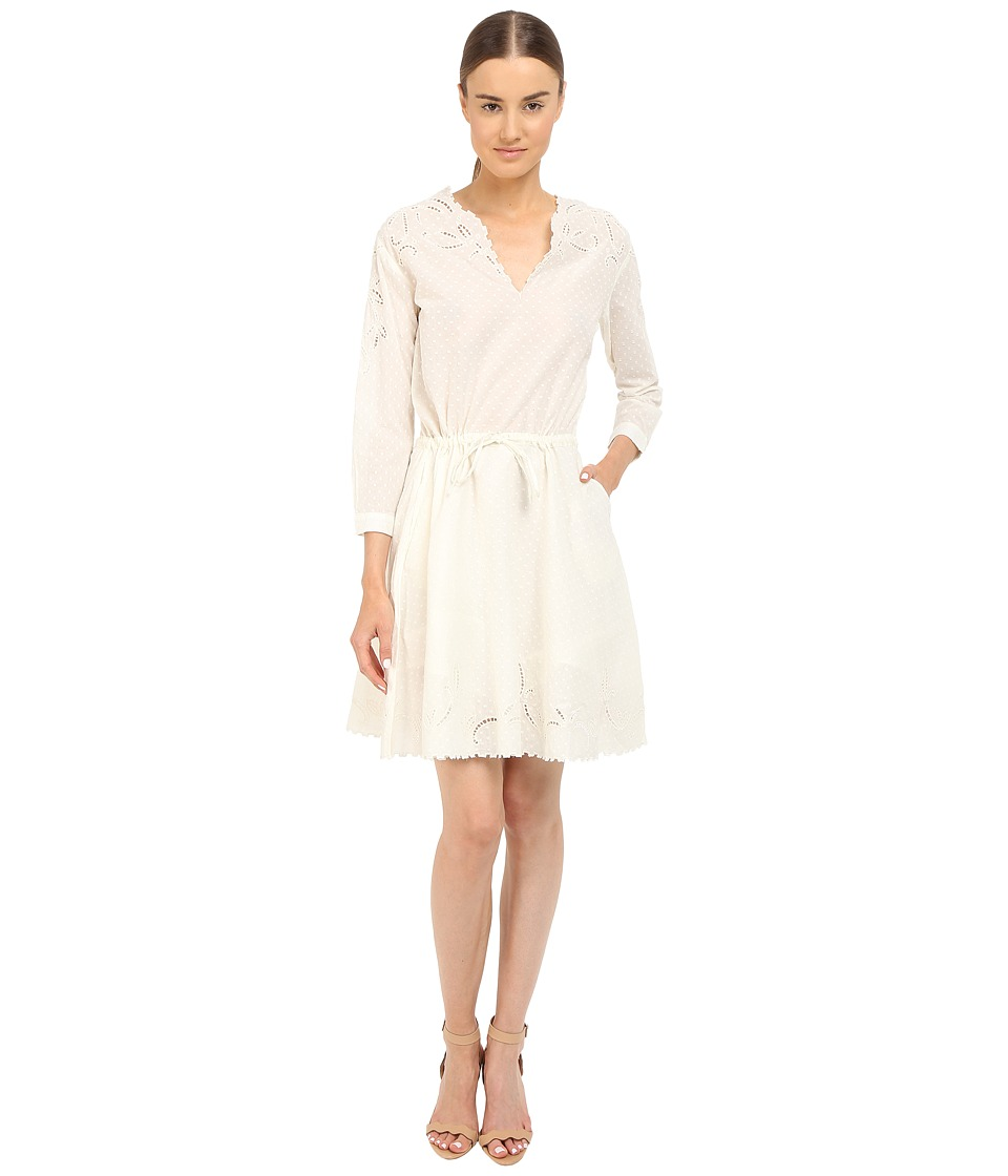 The Kooples - Cotton Dobby Dress with Broderie Anglaise (White) Women's Dress