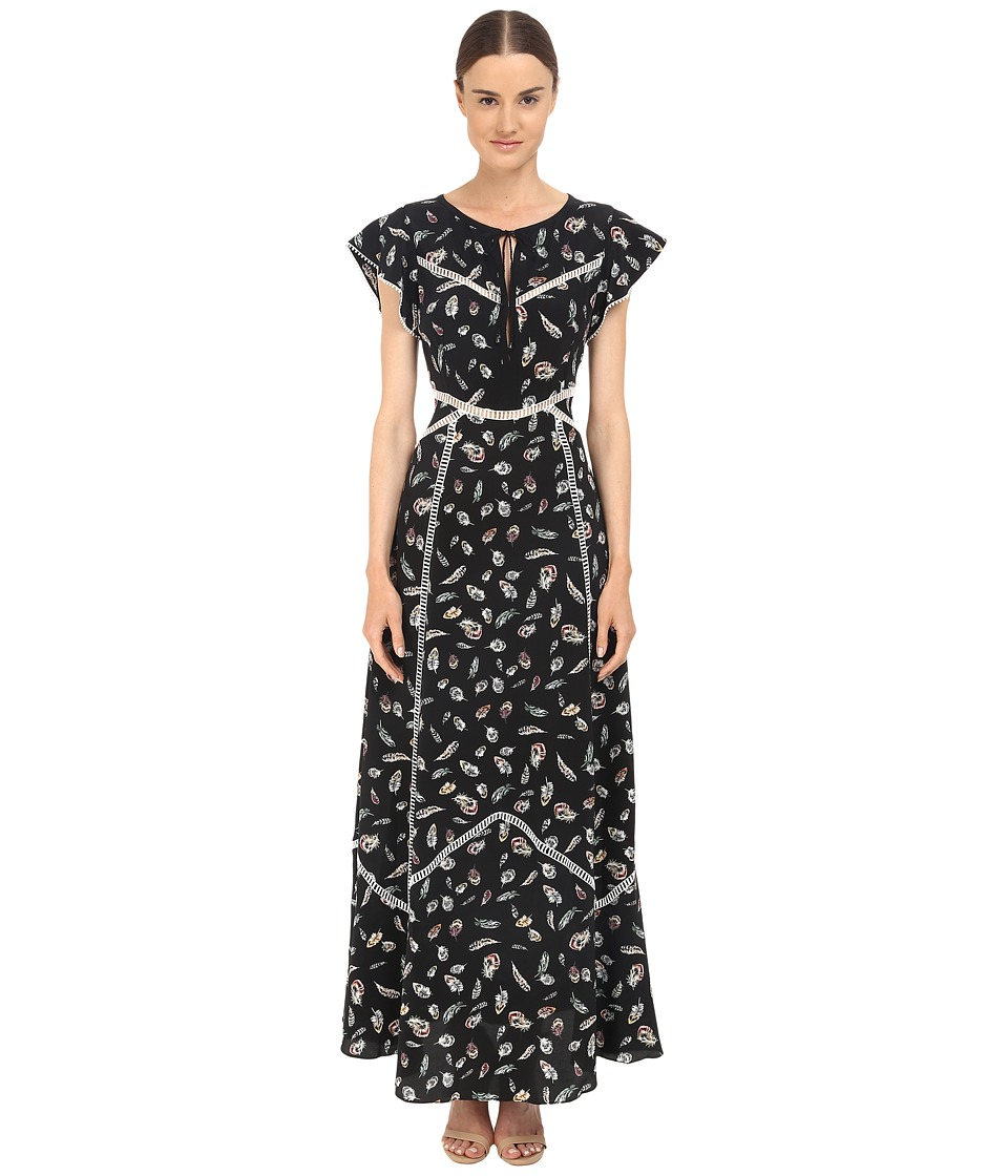 The Kooples - Feather Print Long Dress in Silk with Ladder Stitch Detail (Black) Women's Dress
