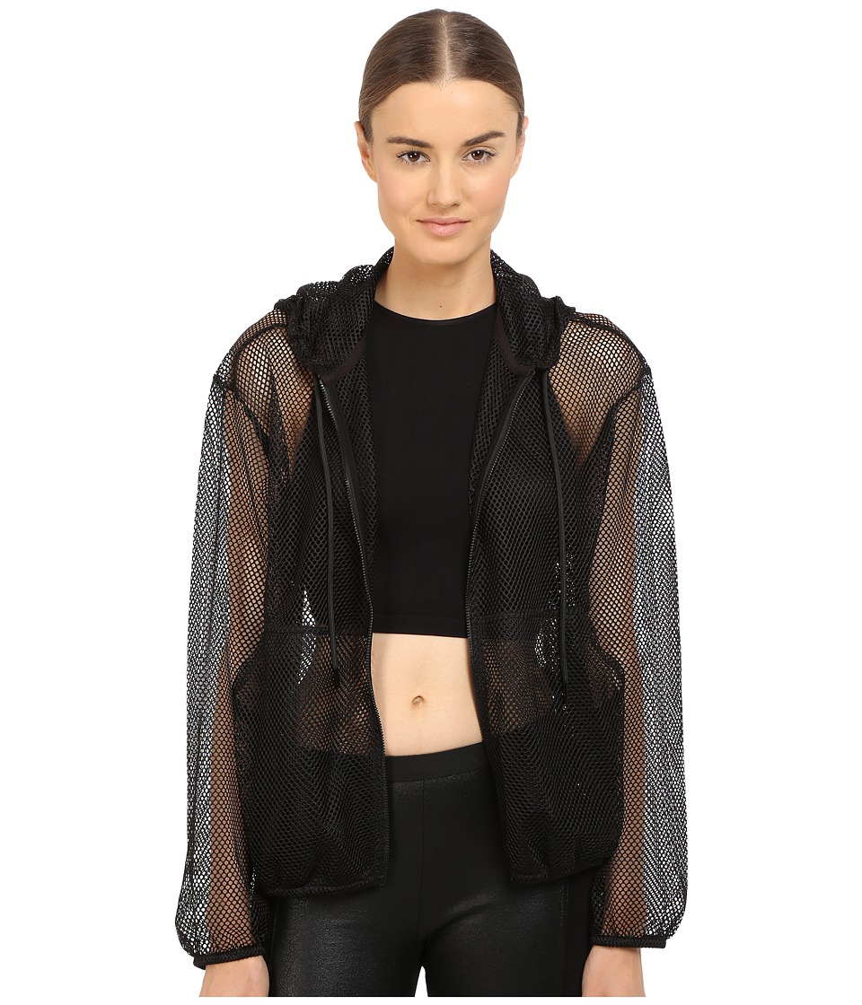 The Kooples - Hooded Jacket in Mesh (Black) Women's Coat