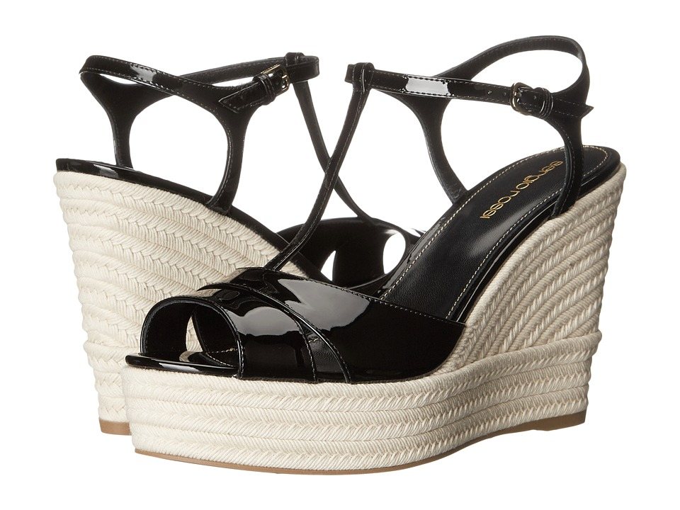 Sergio Rossi - Edwige (Black Patent Raffia) Women's Wedge Shoes