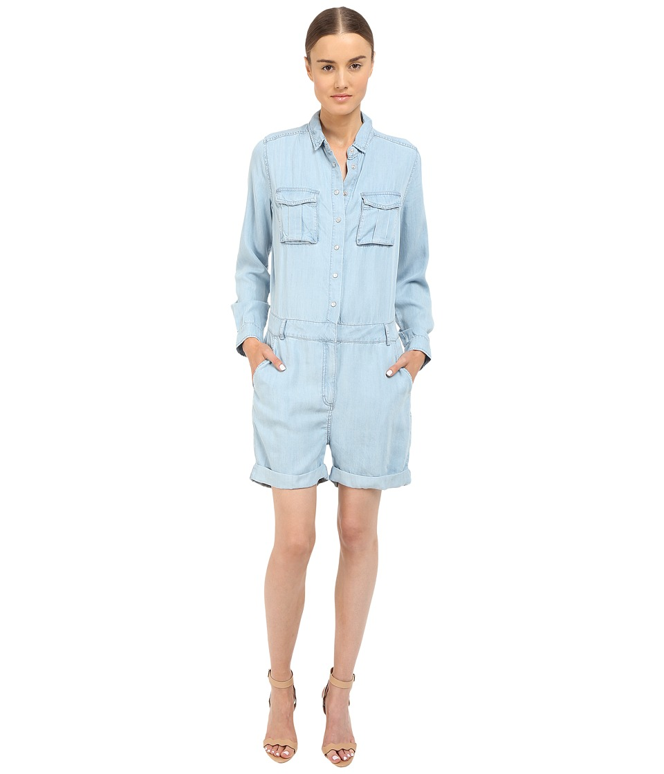 The Kooples - Combinaison Short En Tencel Type Militaire (Blue) Women's Jumpsuit & Rompers One Piece
