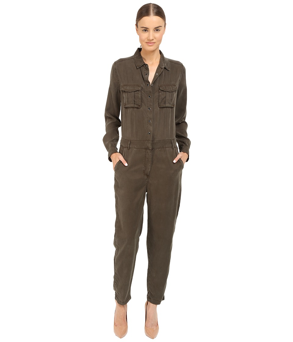 The Kooples - Combinaison Longue En Tencel Poches Plaquees (Kaki) Women's Jumpsuit & Rompers One Piece