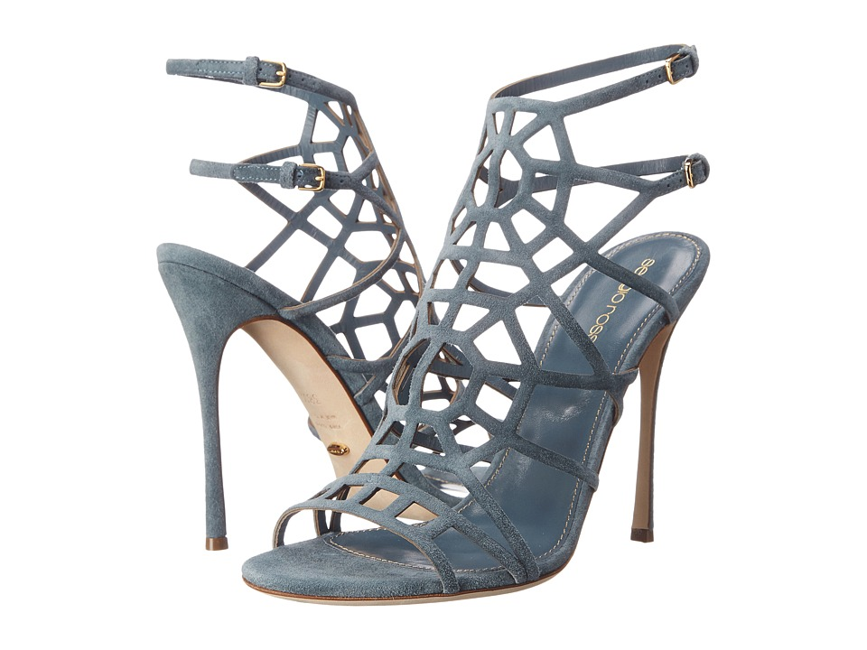 Sergio Rossi - Puzzle Basic (Silk Denim Suede) High Heels