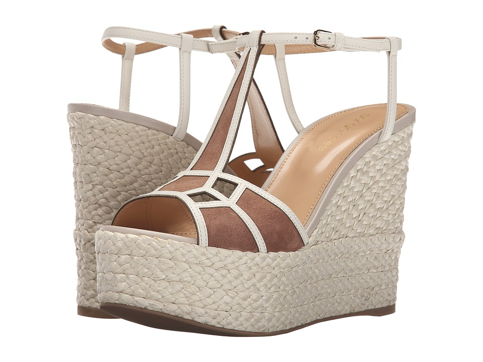 Sergio Rossi - Puzzle Wedge (Bright Skin Suede Raffia) Women's Wedge Shoes