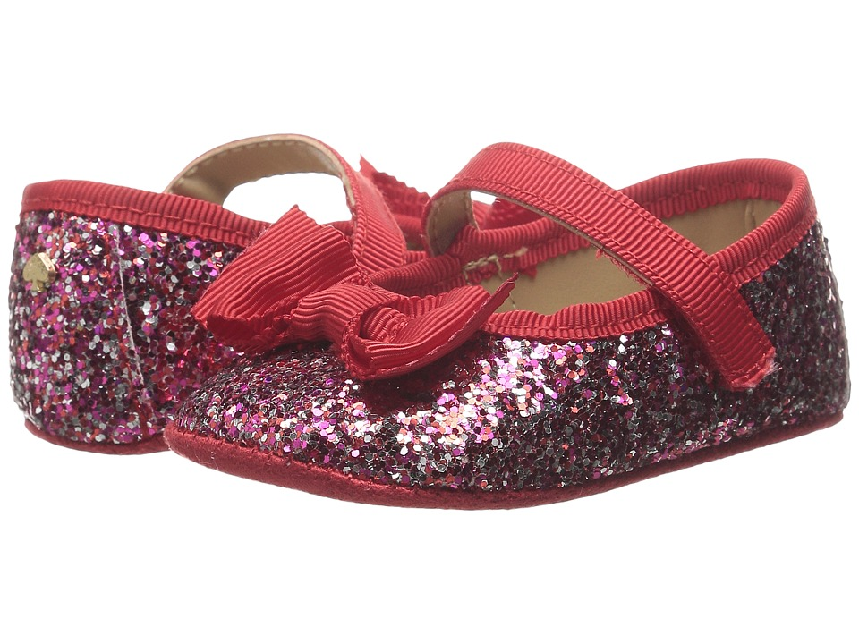 Kate Spade New York Kids - Glitter Mary Jane with Bow (Infant/Toddler) (Multi/Fairytale Red Glitter) Girls Shoes