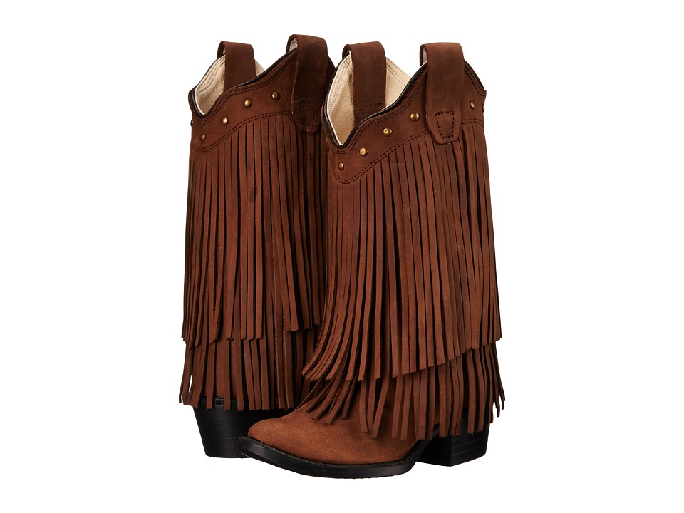 Old West Kids Boots - Fringe Boot (Toddler/Little Kid) (Brown) Cowboy Boots
