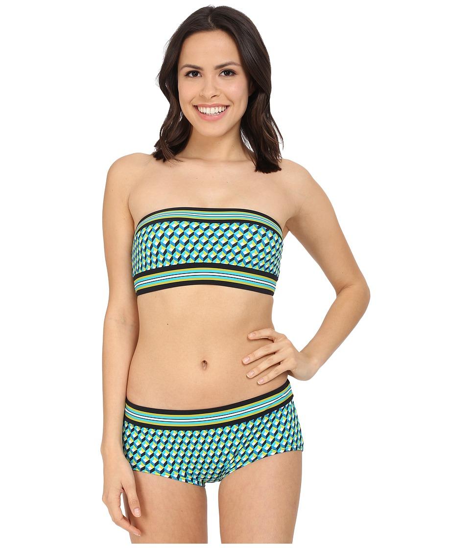 Michael Kors - Mini Deco Cube Bandeau Bra w/ Bikini Boyshorts (Turquoise Multi) Women's Swimwear Sets