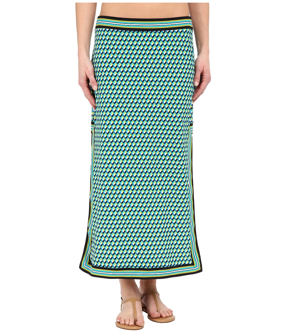 Michael Kors - Mini Deco Cube High Slit Skirt Cover-Up (Turquoise Multi) Women's Swimwear