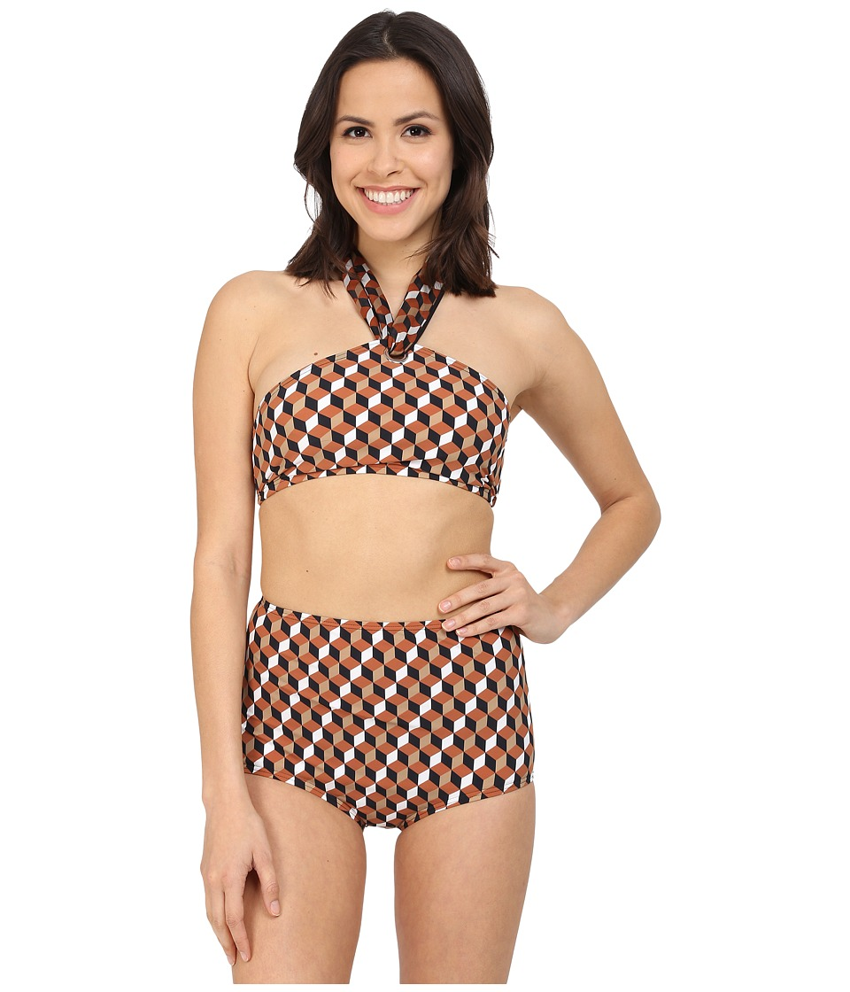 Michael Kors Deco Hexagon High Neck Scarf Tie Bra w &  Retro Bottom Carmel Multi Swimwear Sets
