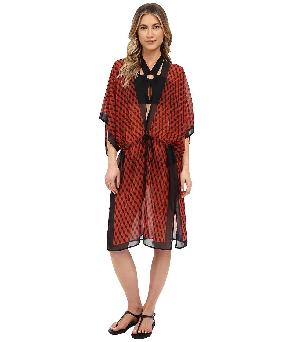 Michael Kors - Deco Hexagon Dress Cover-Up (Coral Multi) Women's Swimwear