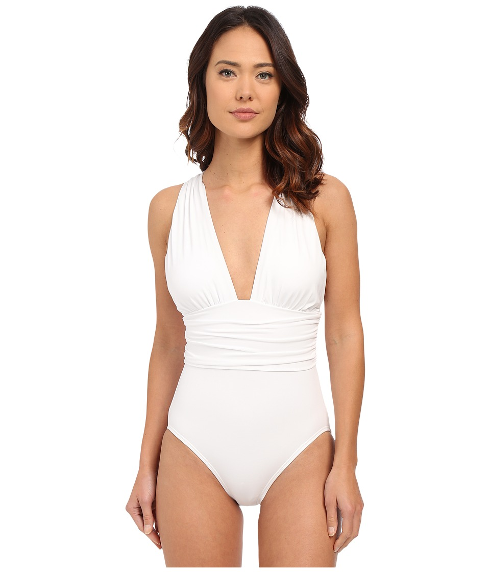 Michael Kors - Drapey Jersey High Neck Peep Cross Front Maillot (White) Women's Swimsuits One Piece
