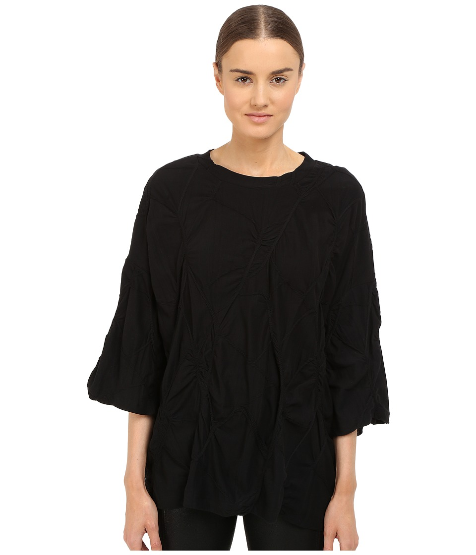 Y's by Yohji Yamamoto - Oversized Cable T-Shirt (Black) Women's Long Sleeve Pullover