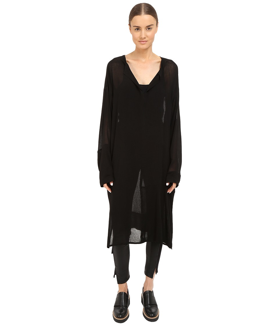 Y's by Yohji Yamamoto - Collarless Gib Dress (Black) Women's Dress