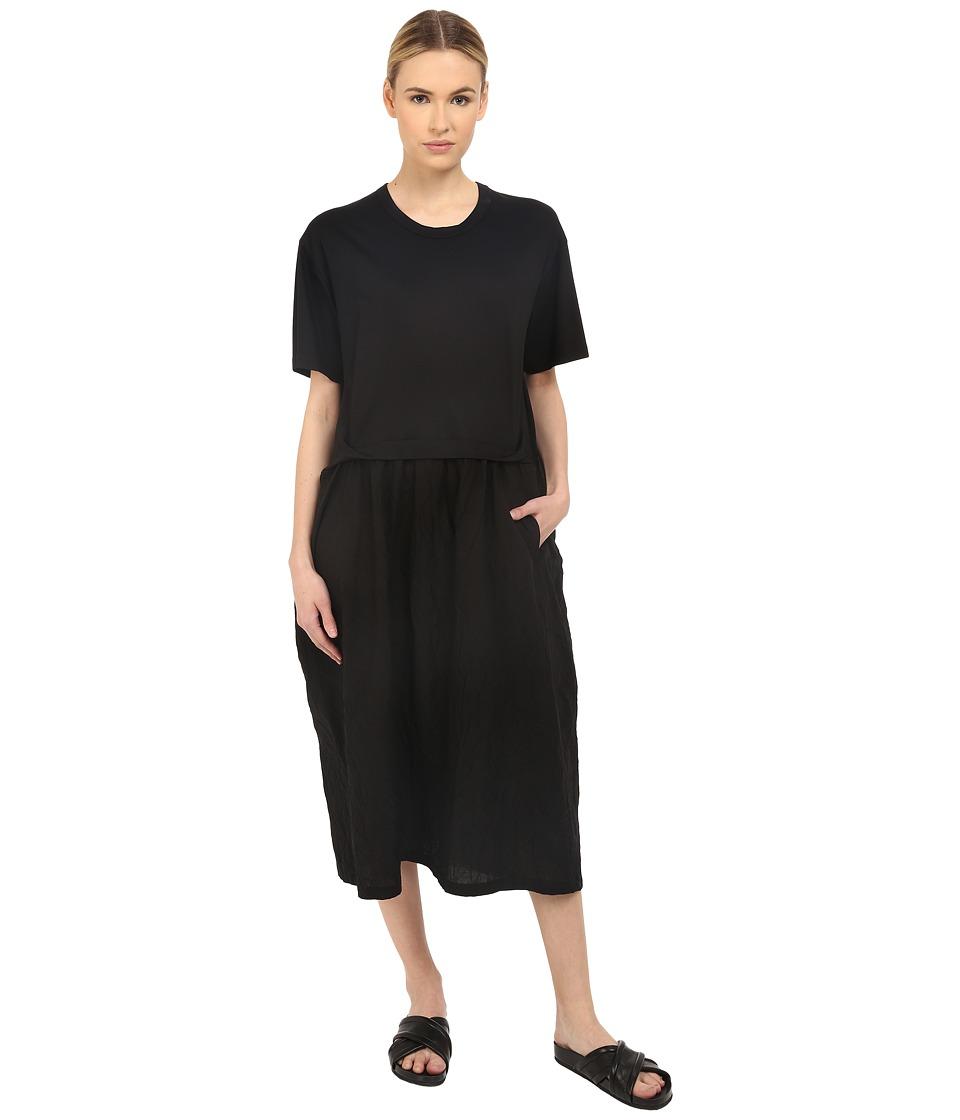Y's by Yohji Yamamoto - Tuck Panel Dress (Navy/Black) Women's Dress