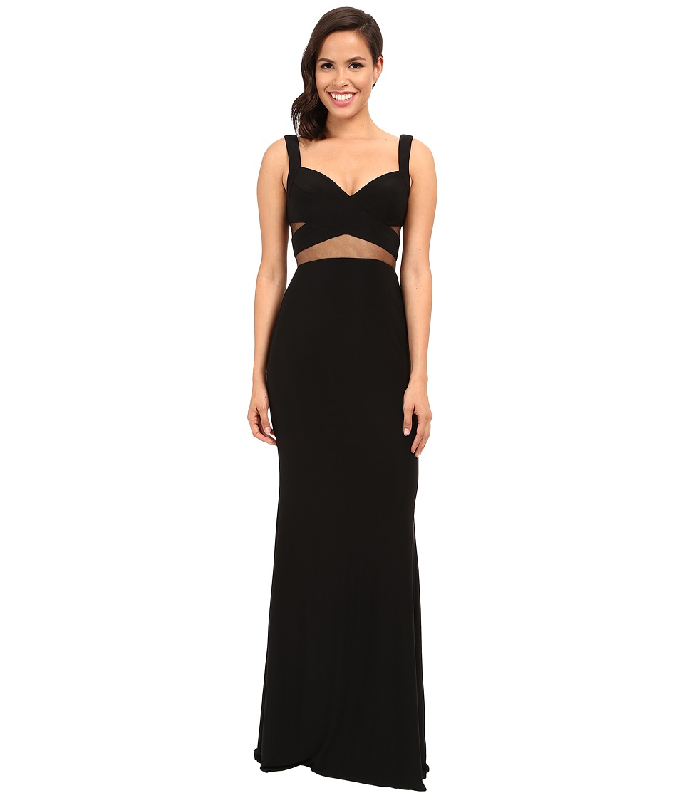 Faviana - Jersey Gown w/ Illusion Cut Outs 7744 (Black) Women's Dress