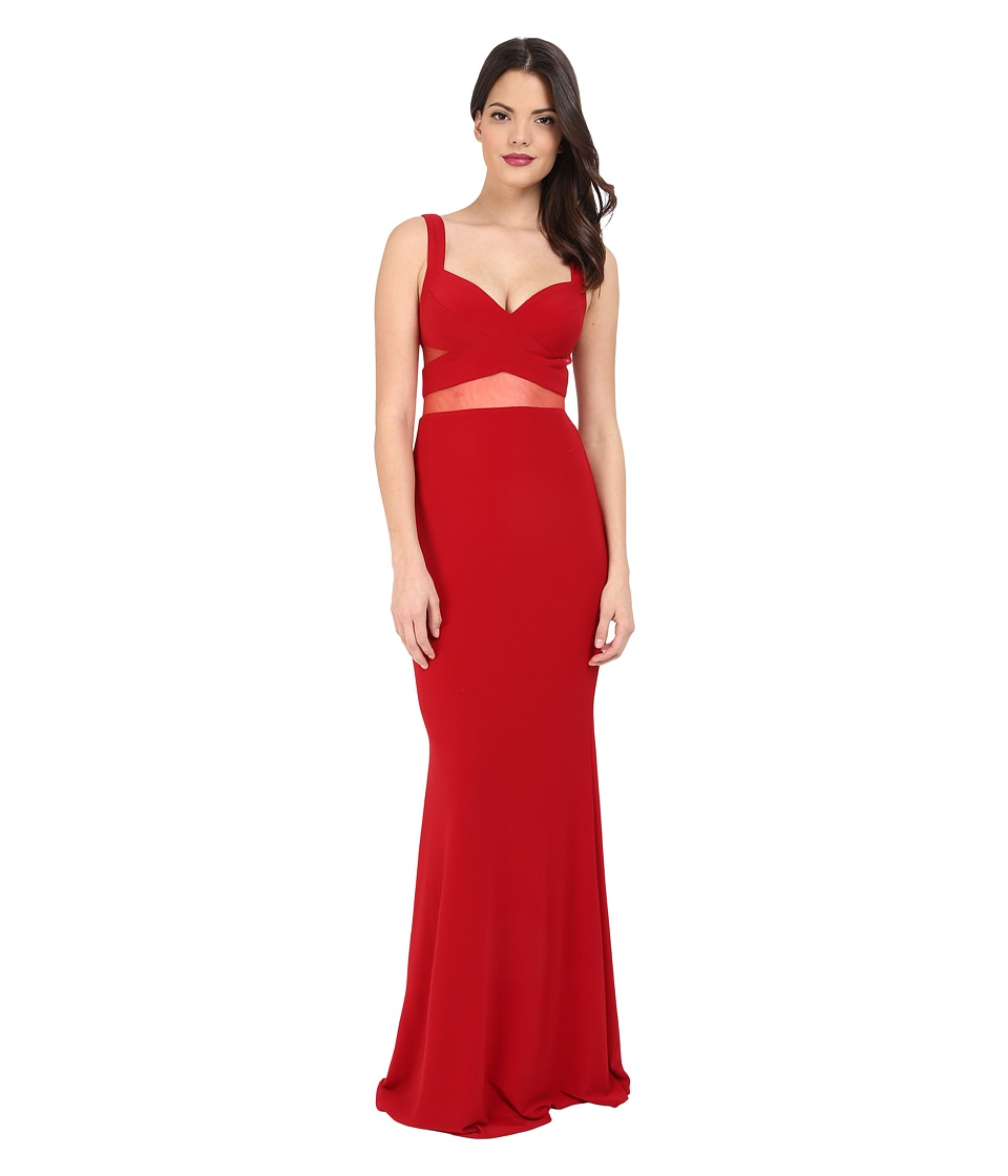 Faviana - Jersey Gown w/ Illusion Cut Outs 7744 (Ruby) Women's Dress