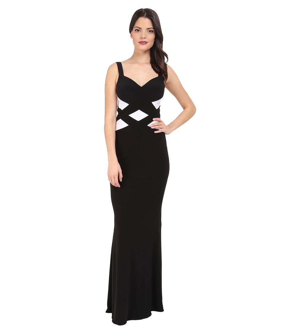 Faviana - Jersey Sweetheart Two-Tone Gown 7746 (Black/White) Women's Dress
