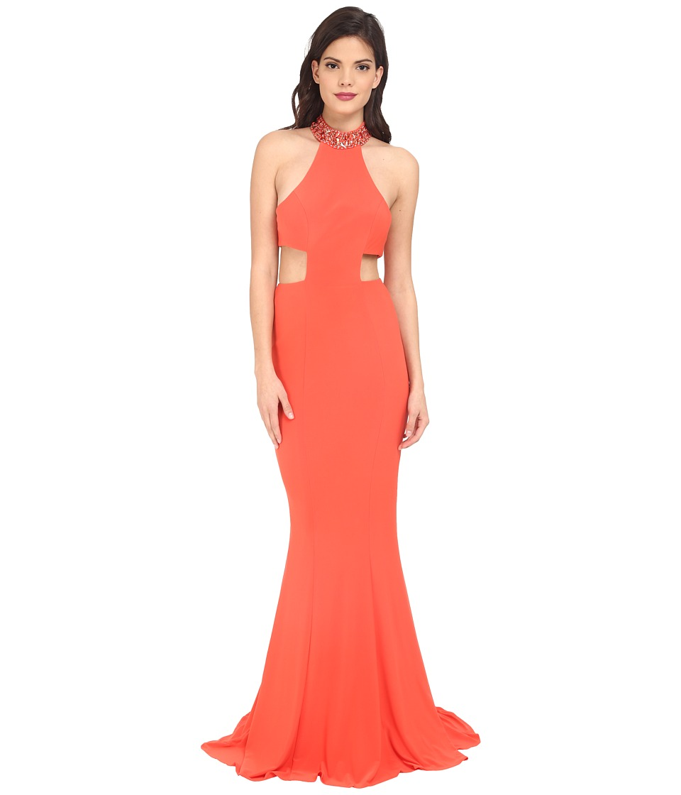 Faviana Jersey Jewl Neck Gown Back Strap Detail 7728 Papaya Dress