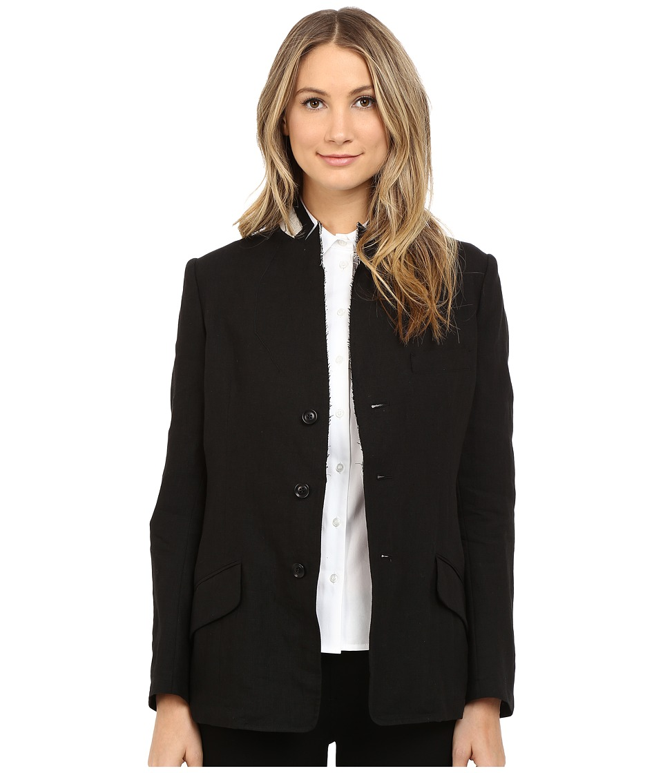 Y's by Yohji Yamamoto - U-Stand Up Collar Linen Blazer Jacket (Black) Women's Jacket